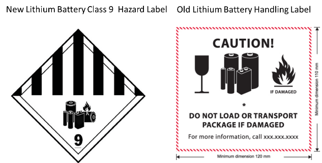 IATA Lithium Battery Class 9  Hazard Label